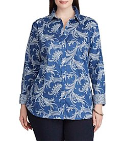 Chaps® Plus Size Non-Iron Paisley Cotton Shirt