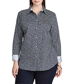 Chaps® Plus Size Non-Iron Polka-Dot Cotton Shirt
