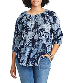 Chaps® Plus Size Floral Cotton Peasant Top