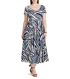 Chaps® Plus Size Zebra-Print Cotton Dress