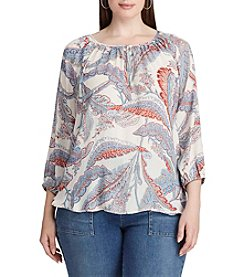 Chaps® Plus Size Leaf-Print Georgette Peasant Top