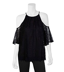 A. Byer Lace Halter Cold Shoulder Top
