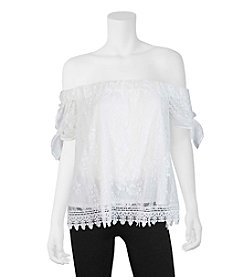 A. Byer Crochet Lace Off Shoulder Top