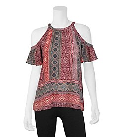 A. Byer Border Print Cold Shoulder Top