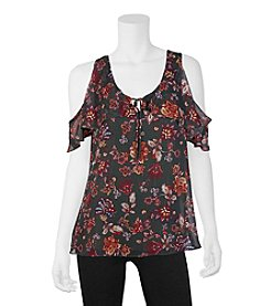 A. Byer Floral Print Cold Shoulder Top
