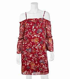 A. Byer Floral Tier Cold Shoulder Dress