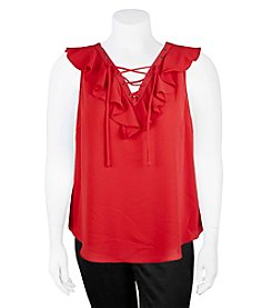 A. Byer Plus Size Ruffle Lace Up Tank