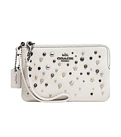 COACH SMALL WRISTLET IN POLISHED PEBBLE LEATHER WITH START RIVETS