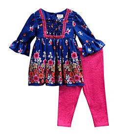 Sweet Heart Rose® Girls' 2T-6X 2 Piece Chiffon Dress And Leggings Set