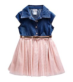 Sweet Heart Rose® Girls' 2T-6X Chambray Glitter Mesh Dress