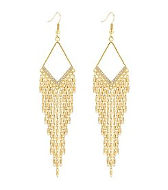 GUESS Goldtone Crystal Accent Drop Earrings