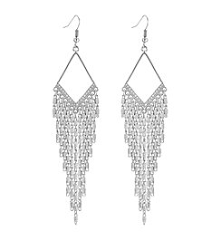 GUESS Silvertone Crystal Accent Drop Earrings