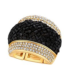 GUESS Bugle Bead Crystal Accent Stretch Ring