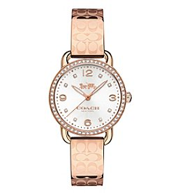 COACH WOMEN'S 28mm DELANCEY CRYSTAL ROSE GOLDTONE WATCH