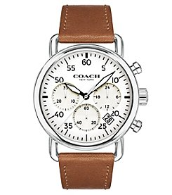 COACH MEN'S 42mm DELANCEY LEATHER STRAP WATCH