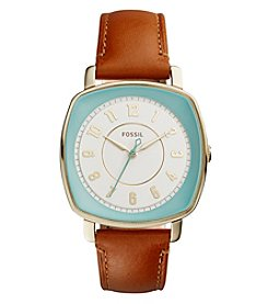 Fossil® Women's 36mm Idealist Square Face Brown Leather Strap Watch