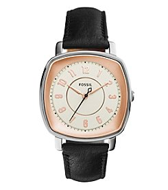 Fossil® Women's 36mm Idealist Square-Face Black Leather Strap Watch