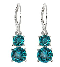 Gloria Vanderbilt™ Teal Crystal Double Drop Earrings