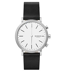 Skagen Hald Black Leather Hybrid Smartwatch