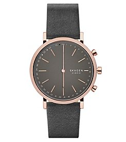 Skagen Hald Gray Leather Hybrid Smartwatch