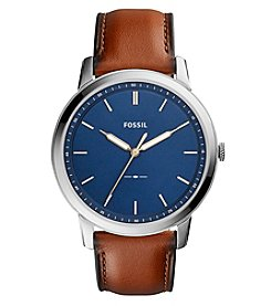 Fossil® Men's 44mm The Minimalist Brown Leather Strap Watch