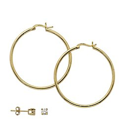 Danecraft 24K Gold Over Sterling Silver Cubic Zirconia and Hoop Duo Earring Set