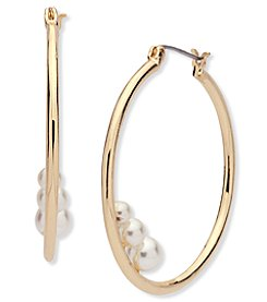 Anne Klein® Goldtone Imitation Pearl Hoop Earrings