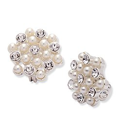 Anne Klein® Simulated Pearl Cluster Clip Earrings