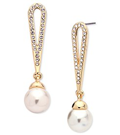 Anne Klein® Goldtone Pave & Imitation Pearl Drop Earrings