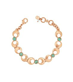 Lucky Brand® Rose Goldtone and Turquoise Link Bracelet