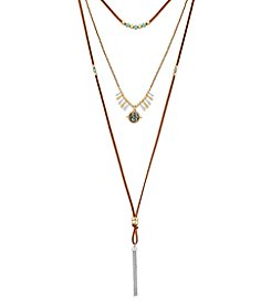Lucky Brand® Layered Mosaic Turquoise Bolo Necklace