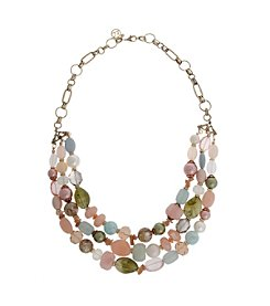 Erica Lyons® Making Me Blush Triple Row Beaded Necklace