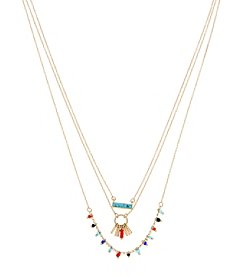 Kenneth Cole® Delicate Turquoise Stone And Mixed Multicolor Bead Necklace Set