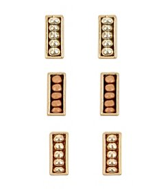 Kenneth Cole® Delicate Mixed Metallic Tri Tone Color Bead Rectangle Stud Earrings Set