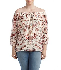 AGB® Plus Size Printed Off Shoulder Top