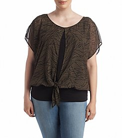 AGB® Plus Size Printed Overlay Top
