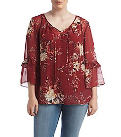 AGB® Plus Size Floral Printed Bell Sleeve Top
