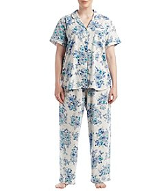 KN Karen Neuburger Plus Size Floral Knit Pajama Set