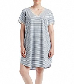 KN Karen Neuburger Plus Size Knit Stripe Sleepshirt