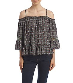Sequin Hearts® Off The Shoulder Floral Peasant Blouse