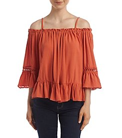 Sequin Hearts® Off The Shoulder Ruffle Blouse