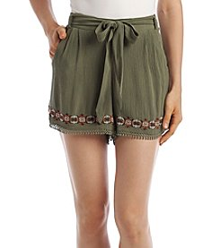 Sequin Hearts® Embroidered Waist Tie Shorts