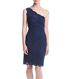 Morgan & Co.® One Shoulder Glitter Lace Sheath Dress