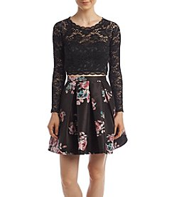My Michelle® Lace Top Two Piece Floral Party Dress
