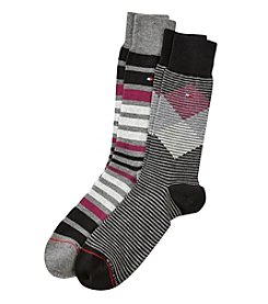 Tommy Hilfiger® 2-Pack Diamond Striped Crew Socks