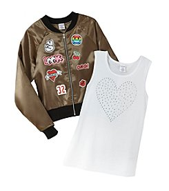 Miss Attitude Girls' 7-16 Bomber Jacket And Tank Top Set