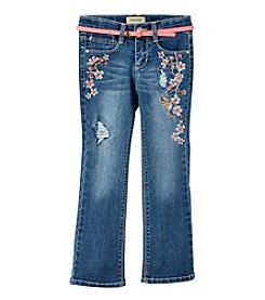 Squeeze® Girls' 2T-6X Flower Embroidered Jeans With Belt