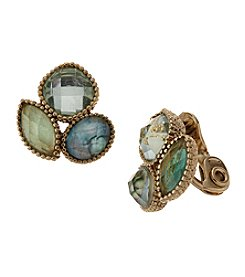 Napier® Faceted Stone Cluster Clip On Earrings