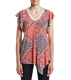 Oneworld® Printed Flutter Sleeve Top