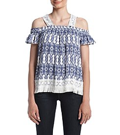 Oneworld® Cold Shoulder Fringed Top